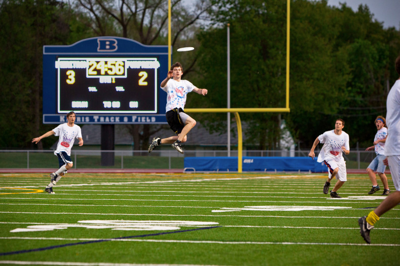 An Ultimate Frisbee game at Strong Stadium.
