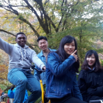 Everett Baxter'19 enjoying a bike ride with fellow students while studying abroad at Akita International University in Japan.