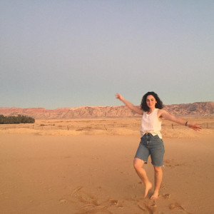 Lucy Abrams showing off the Arava desert.