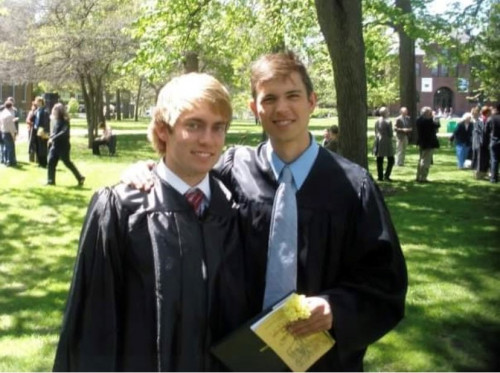 This is one of the memorable photos of Christian and Kristian on graduation day at Beloit College...