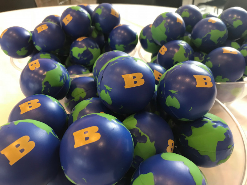 "A bunch of earth balls with Beloit ""B""."