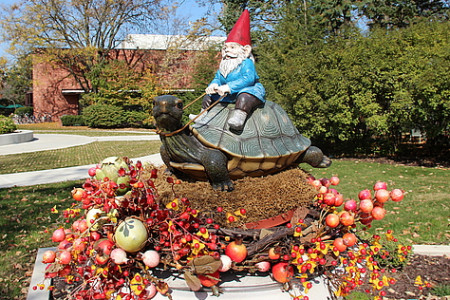 Two turtles, with gnome riders, adorn the walkway leading up to Beloit's president's hous...