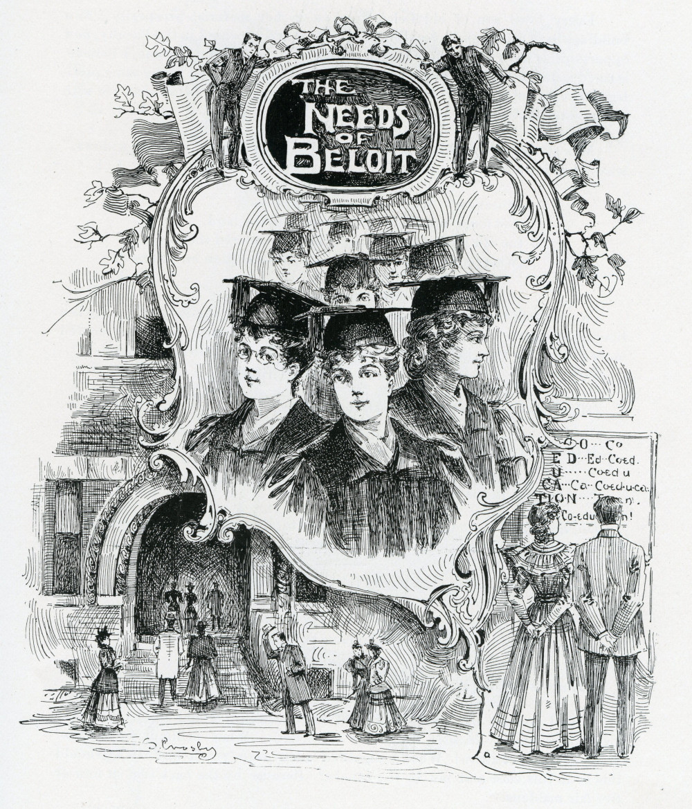 "Printed in the 1895 Codex, this cartoon depicts ""The Needs of Beloit"" as co-education was bec..."