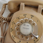 Old beige dial phone
