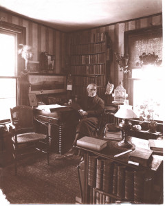 James J. Blaisdell pictured in the lounge of the Blaisdell House in the 19th century,