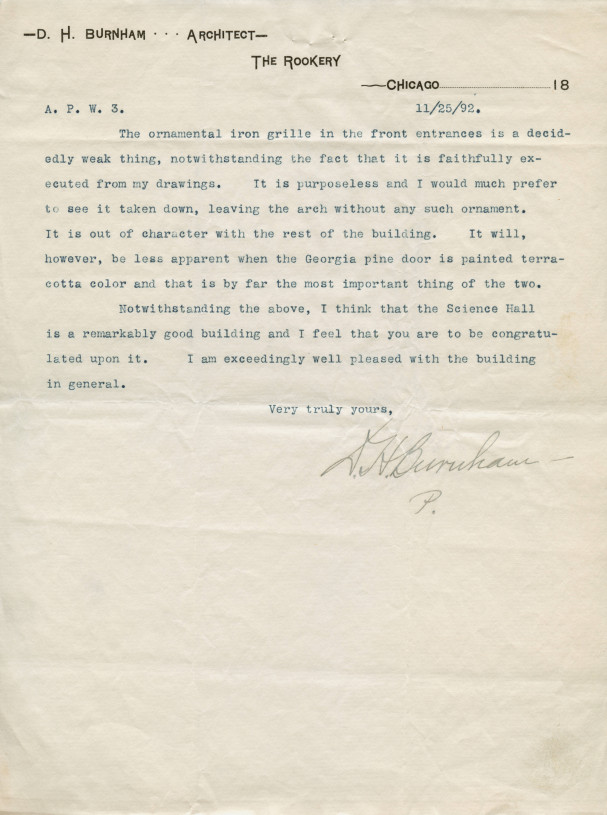 Daniel H. Burnham's letter on Pearsons Hall