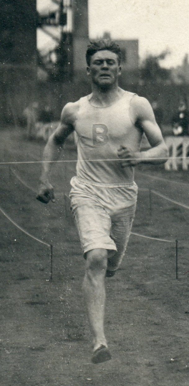 A close up of Edward Strong Merrill winning a race at the I.C.A.A. Track Meet in Chicago circa 19...