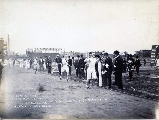 Edward Strong Merrill winning a race at the I.C.A.A. Track Meet in Chicago circa 1901.