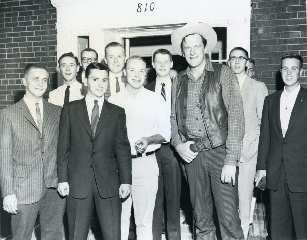James Arness pictured with some Beta Theta Pis.