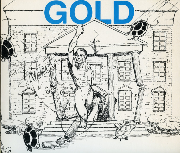Kirk O'Brien's drawing of President Hull blasting through Middle College as the cover of the 1983...