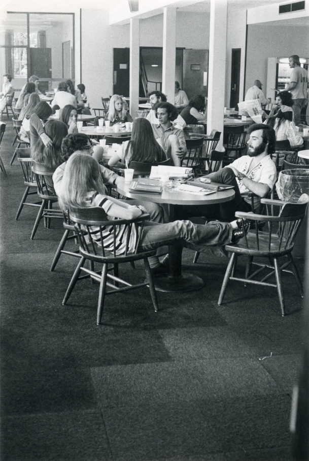 Students relaxing and eating in the Smith Student Union.