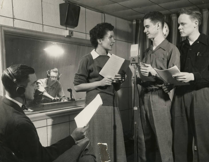 Students performing radio drama 1950s
