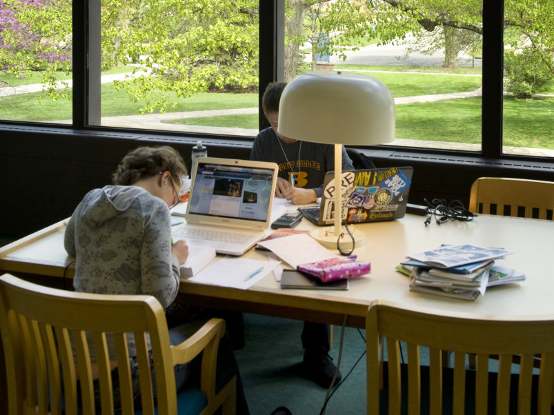 A Beloit student studies in the Morse Library.