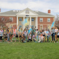 Students celebrate Holi on Chapin Quad by tossing colored powder into the air. The Holi festival ...