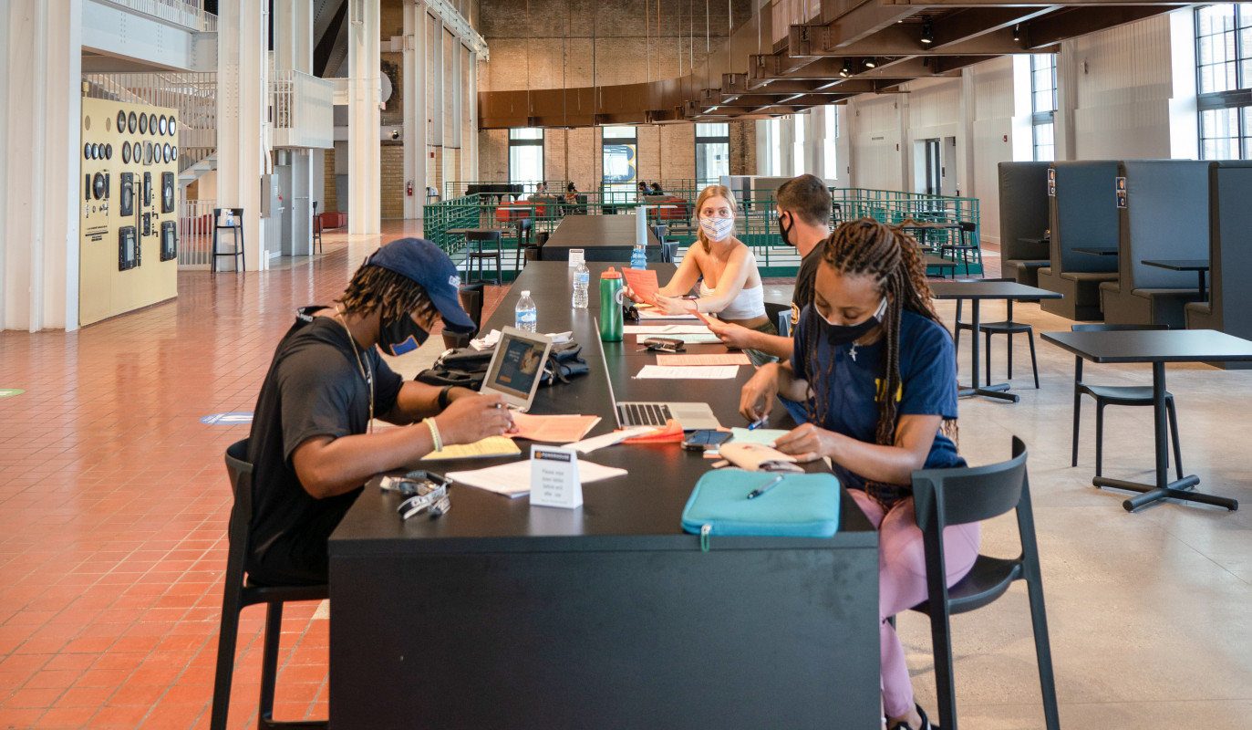 Students studying in the Powerhouse.