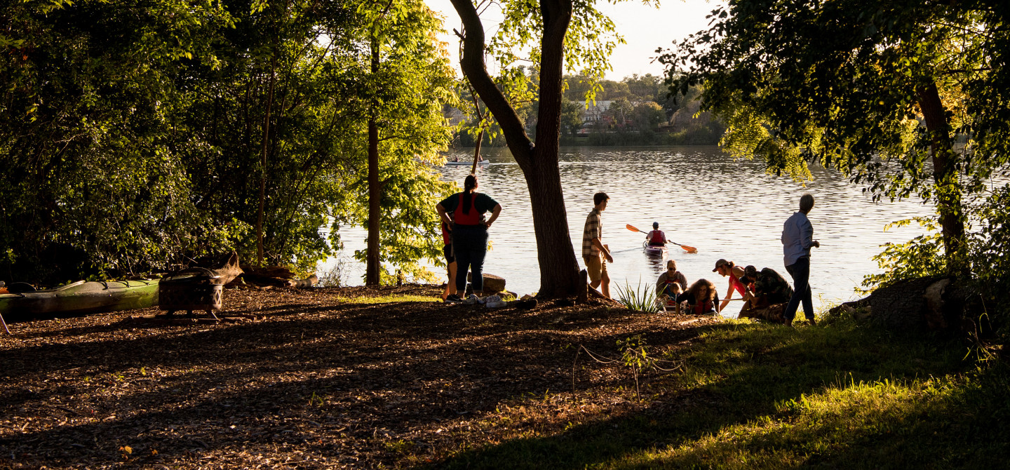 A student group renews enthusiasm for paddle sports along the Rock River near the Buccaneer Boathouse.