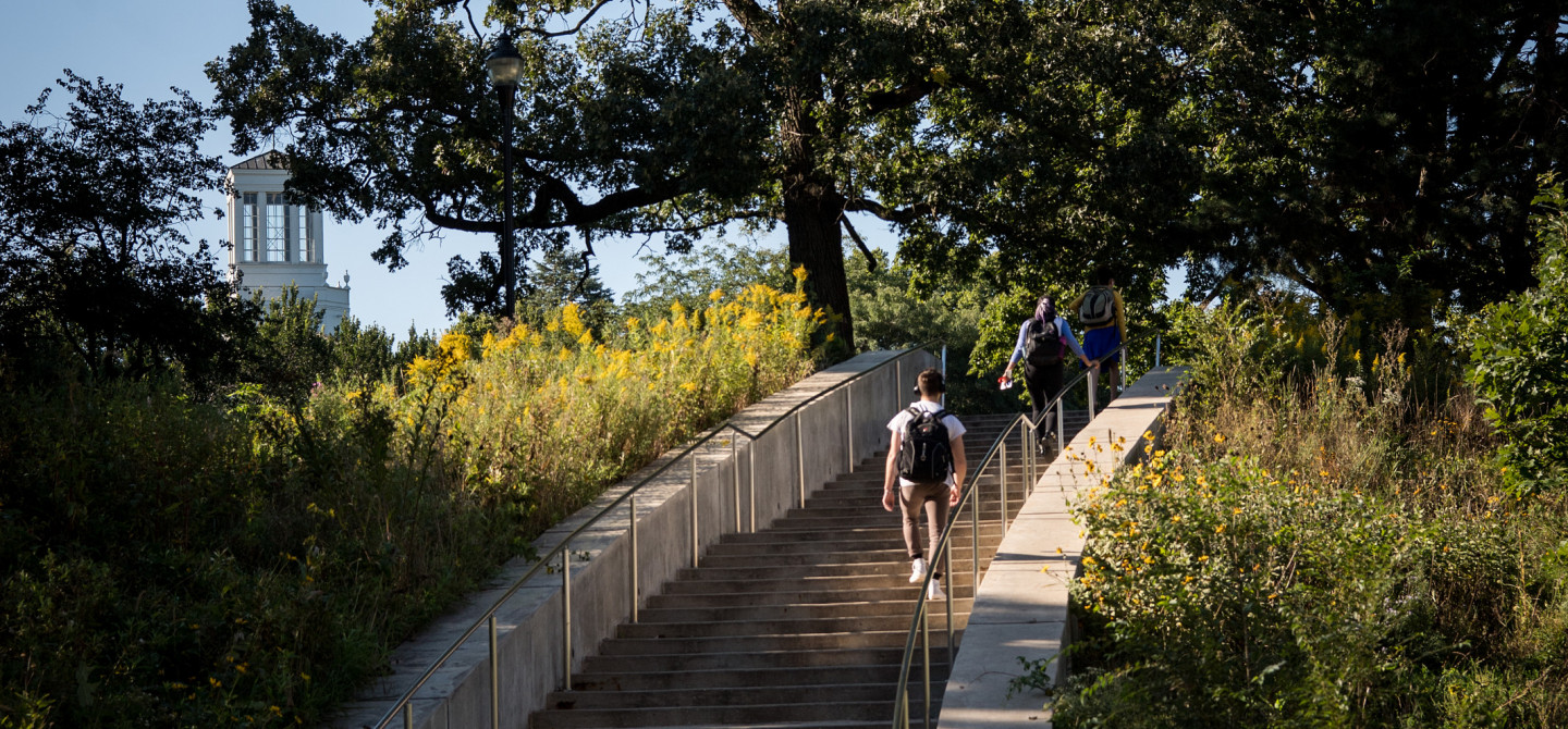 Beloit College students climb the curving stairway.