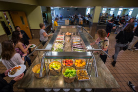 A large fresh salad bar is offered daily in the Commons dining hall.