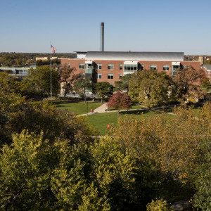 A gorgeous view of the Sanger Center of the Science from the cupola of Middle College.