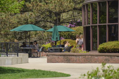 The Morse Library patio.
