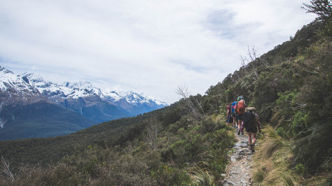 Hiking to a hut on the Routeburn Track