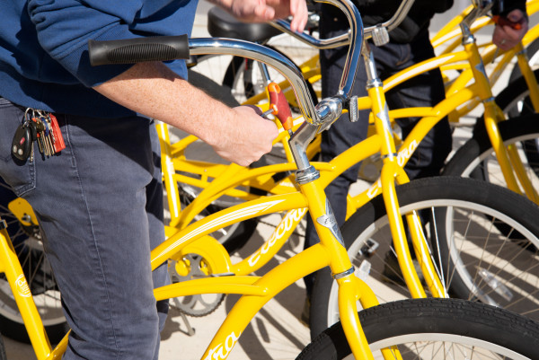 Beloit's bike share program, run by students, features a fleet of free bikes students can check...