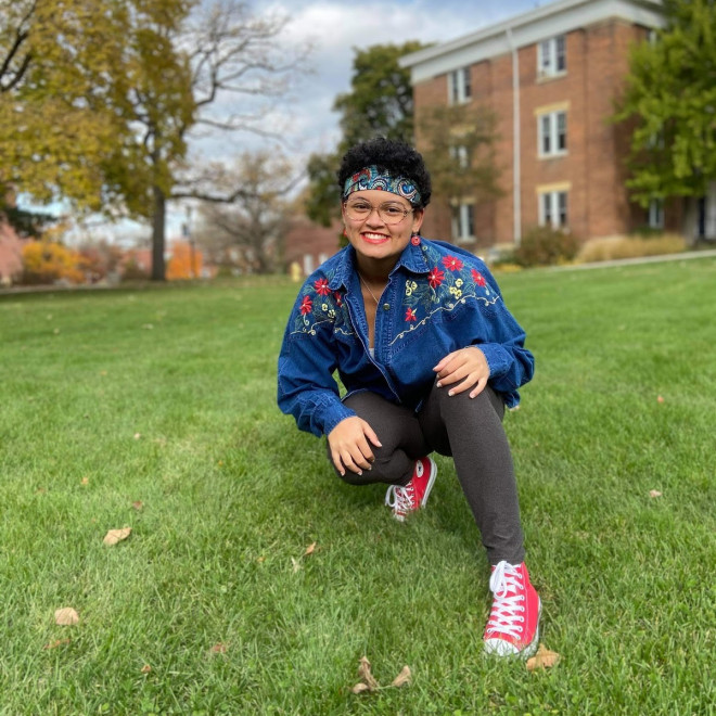 Autumn Green'24, of Milwaukee, Wis., found a sense of belonging on campus this fall?even with the...