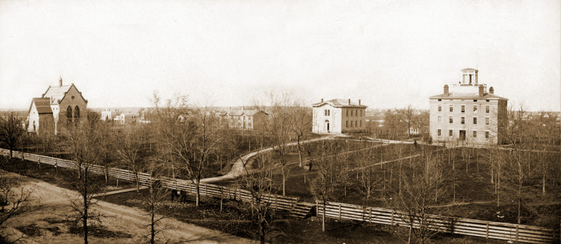 Beloit College campus in 1873. From left are Memorial Hall, South College, and Middle College.