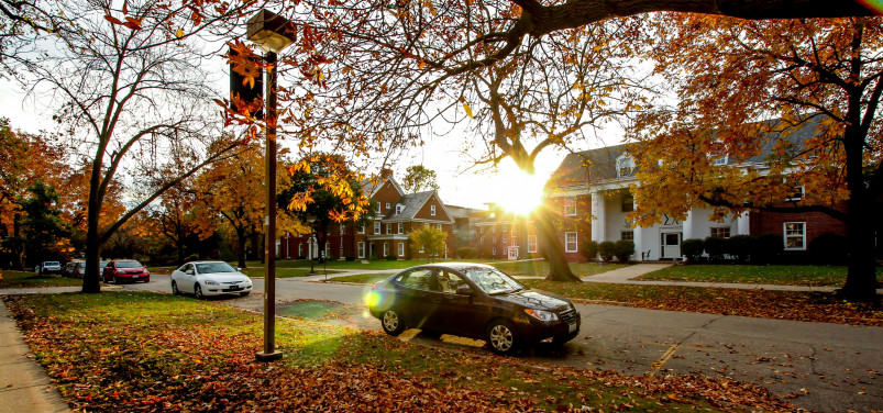 Fall leaves add color to the sororities and fraternities houses along College Street on the Beloi...