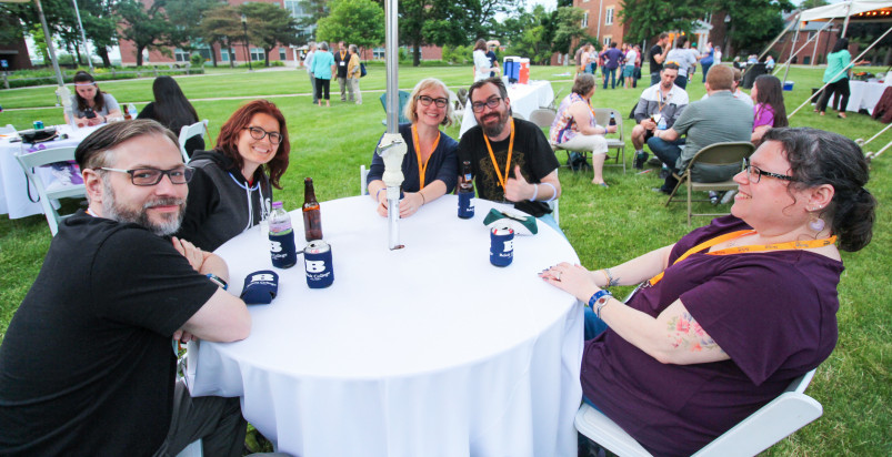 Beloit College alumni gather for a picnic during reunion weekend.