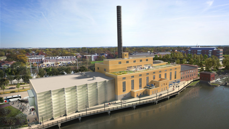 An aerial view of the Powerhouse seen from the river side.