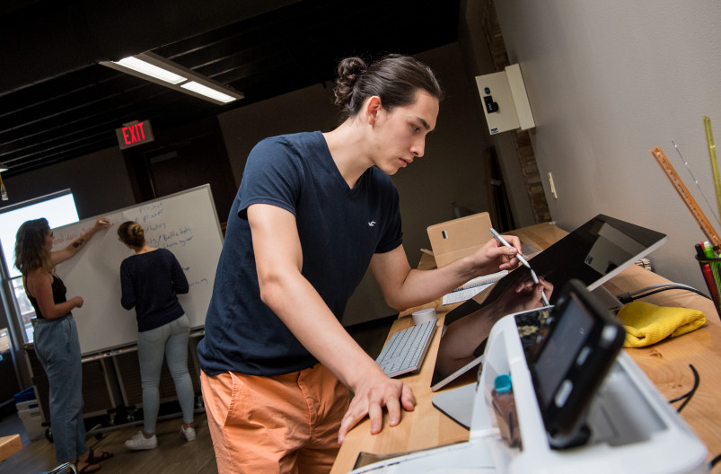 Beloit students explore their own entrepreneurial skills in the Makers Lab at the Center for Entr...