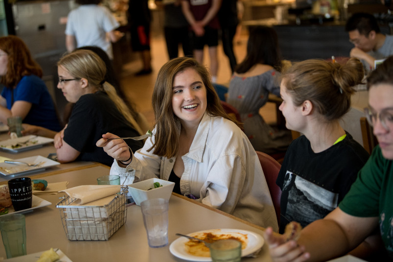 Students eating in Commons dining hall.