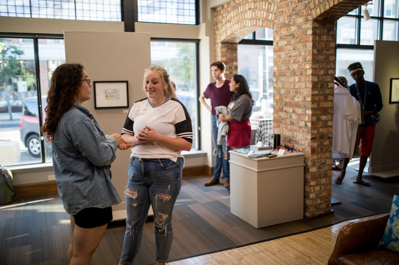 Beloit College students show their artwork at Gallery ABBA in the CELEB building in downtown Belo...