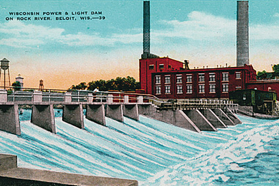 An old postcard featuring the Powerhouse
