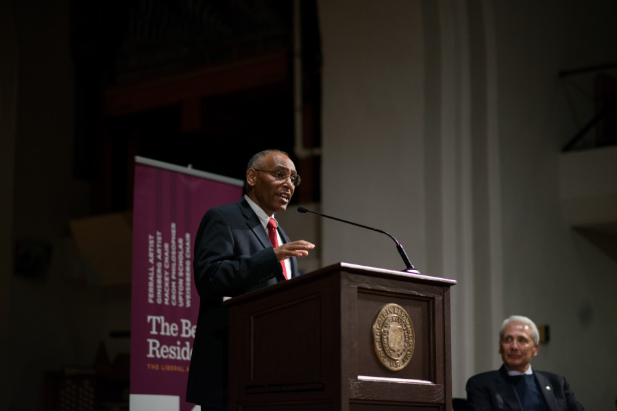 Weissberg Chair Eskinder Negash, Senior Vice President for Global Engagement for the United States Committee for Refugees and Immigrants (USCRI) presents his keynote speech.