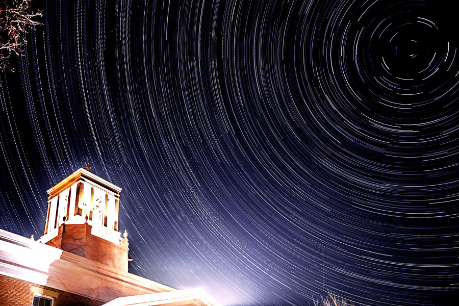 Star trails time lapse above Middle College.