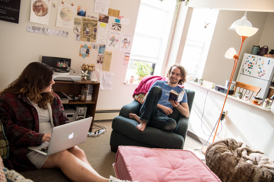 Beloit students enjoy apartment style living in Emerson Hall.