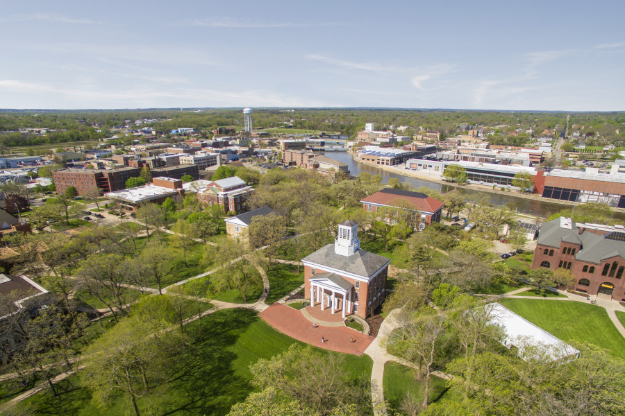An aerial view of Middle College on the Beloit College campus.