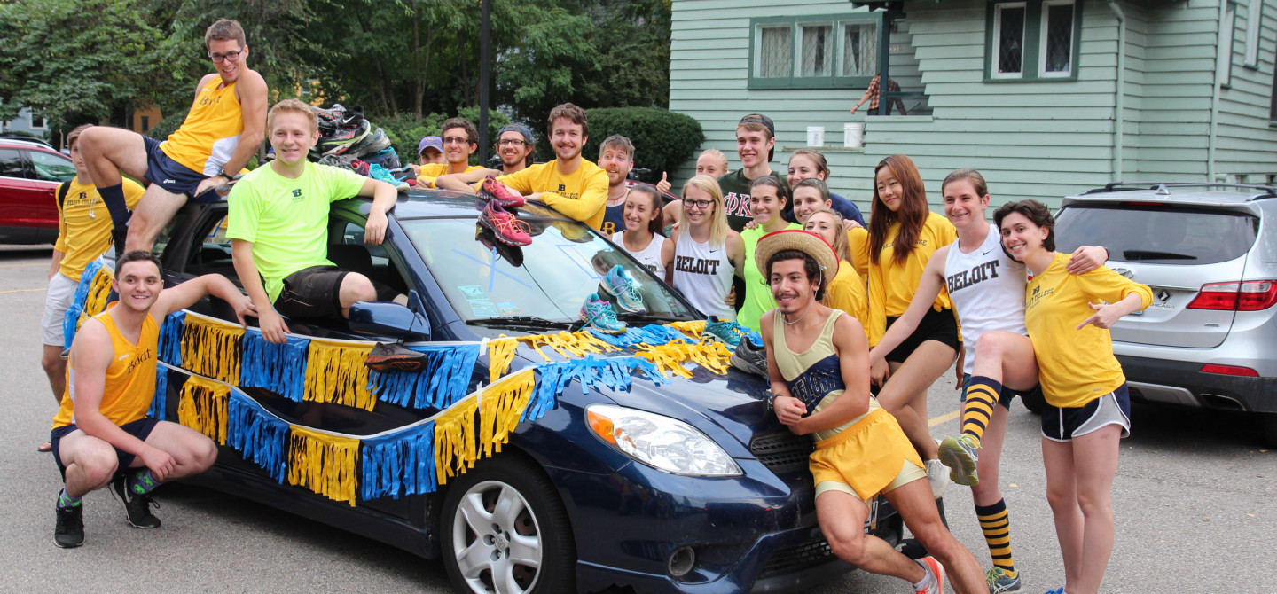 Students make floats for Beloit's Homecoming parade each year; this is the cross country team's float from the most recent parade.
