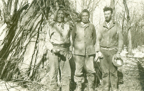 Left to right: Bear on the Flat (Mandan), Crows Heart (Mandan), and Alfred Bowers.