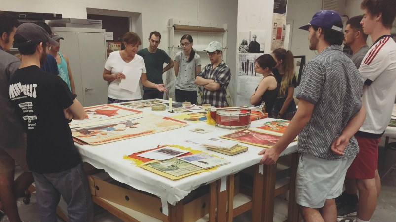 Professor Donna Oliver's Russian class looks at Russian Youth Culture ephemera.