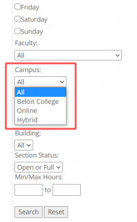 "In the Portal's ""Course Search"", use the ""Campus"" field to filter courses based on whethe..."