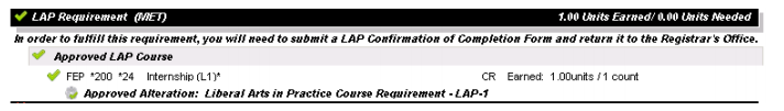 LAP requirement section of the Advising Worksheet on the Portal, showing as MET