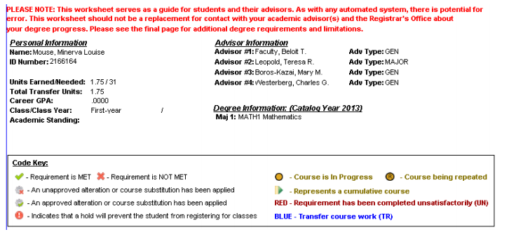Basic information and Key section of the Advising Worksheet on the Portal