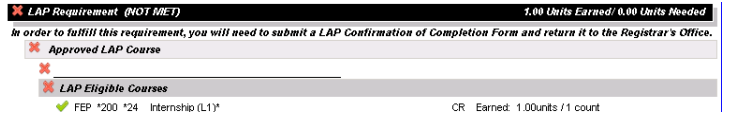LAP requirement section of the Advising Worksheet on the Portal, showing as NOT MET