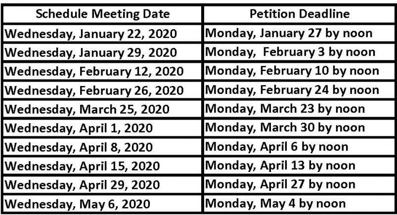 Academic Performance Committee Spring 2020 scheduled meeting dates & petition deadlines