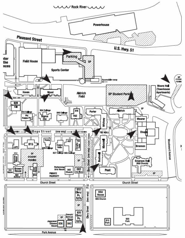 Map of the north half of the Beloit College campus, noting the location of emergency phones.