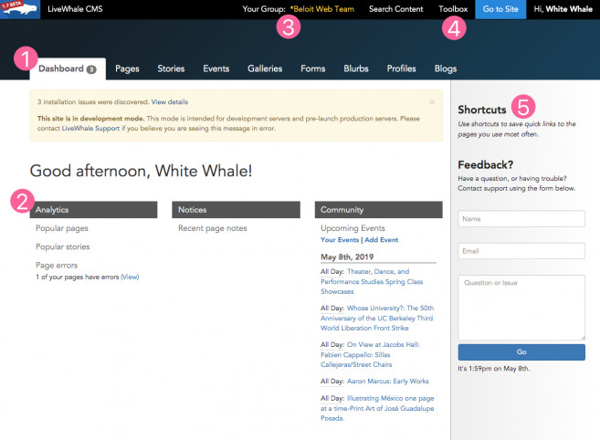 A tour of the LiveWhale dashboard.