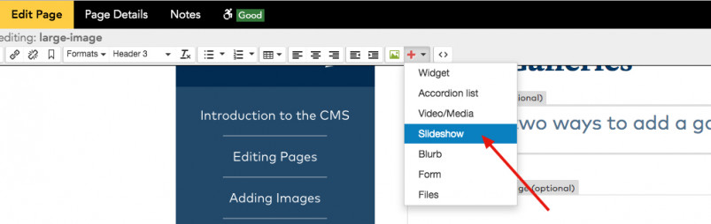 Add a gallery using the page editor toolbar.